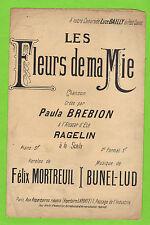 Partition ancienne Old Sheet music XIX Les fleurs de ma mie F. Mortreuil chant