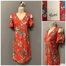 New Yumi Red Floral Cold Shoulder Dress UK 8 EUR 36