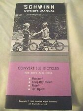 Vintage Schwinn Convertible Bicycles for Boys and Girls Owners Manual 1969