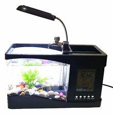 1,5L USB Aquarium Aquarien Kies Deko Pflanze Büro Schreibtisch Uhr  Organizer NEU