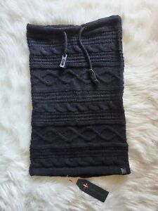 Bickley + Mitchell Black Melange Drawstring Cable Knit Snood Cowl NWT