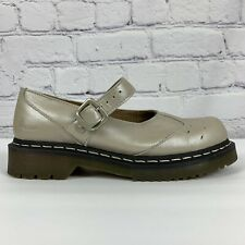 Doc Martens Womens Size 8 Mary Janes Beige Pewter Iridescent Buckle Strap