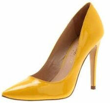 DIAVOLINA ALEXA YELLOW PATENT LEATHER HIGH POINTY TOE PUMP SHOE SIZE 9.5