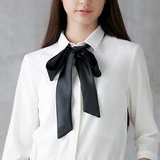 Women Silk Satin Skinny Scarf Slim Thin Ribbon Belt Solid Choker Neck Small Tie