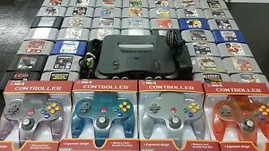 Nintendo 64 N64 system up to 10 games 4 controllers,