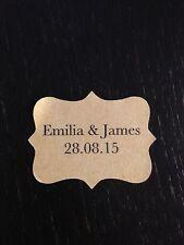28 x VINTAGE Kraft Brown Wedding Paper Sticker Labels Personalised BASKERVILLE