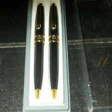 Bill Blass Designer Pencil Set Black And Gold Trim In Case Set Of 2 Auto Pencils