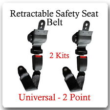 (2 Kits ) Universal Strap Retractable Car Trucks Safety Seat Belt Black 2 Point