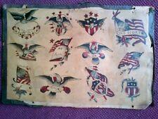 BEAUTIFUL RARE ORIGINAL VINTAGE 1920s PATRIOTIC BOWERY TATTOO FLASH SHEET