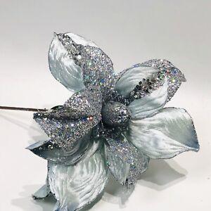 """Vickerman 22"""" Silver Glitter Satin Velvet Poinsettia Wedding Flower Stem Decor"""