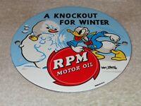 """VINTAGE """"RPM MOTOR OIL DONALD DUCK"""" 6"""" PORCELAIN METAL WALT DISNEY GASOLINE SIGN"""