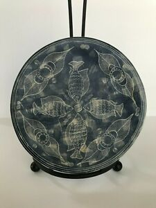 Decorative Blue Soapstone Plate with Hand Carved Pattern