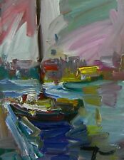 JOSE TRUJILLO OIL PAINTING SAILBOAT FISHING EXPRESSIONIST ABSTRACT MODERNIST ART