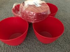 New*Tupperware*Set Of 4*2 Cup Refrigerator Bowls*Christmas Red