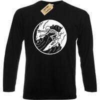 Mens Surfing Skeleton T-Shirt surfer skull board beach wave long sleeve