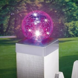 Solar Powered Color-Changing Crackle Glass Gazing Ball Fence Post Cap Light