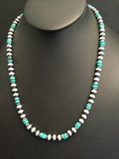 Native American Sterling Silver Navajo Pearls Turquoise Necklace