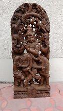 Hindu God Krishna Wooden Statue Temple Figurine Hand made sculpture Ornament Art