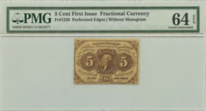 5 Cent First Issue Fractional Currency PMG Choice UNC 64 EPQ Fr #1229