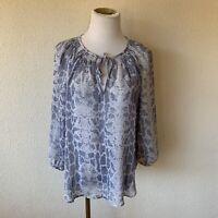 Joie Blue Women's Size XS Snakeskin Print Split Neck Silk Blouse
