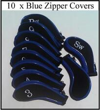 10 x Iron Head Covers - Blue with Zipper - New