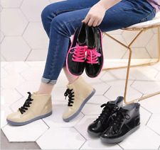 NEW Women's Fashion Classic Lace Up Ankle Rubber Rain Boots Shoes