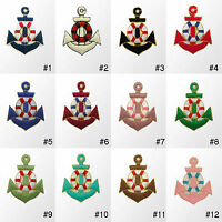 """#270IR Small Anchor Nautical Embroidered Sew Iron on Motif Patch Badge 1.70""""Tall"""