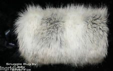 Silver Fox Faux  Fake Fur   MUFF Hand Warmer  Soft  & Gorgeous Brand New !