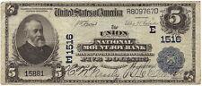 New listing $5 The Union Nat. Mount Joy Bank Pa Ch#E1516 02Pb Large Ser# 15881 Lancaster Co.