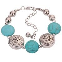 Tibetan Silver Oblate Beaded Bangle Turquoise Chain Bracelet Adjustable -zk