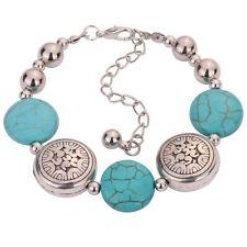 Tibetan Silver Oblate Beaded Bangle Turquoise Chain Bracelet Adjustable