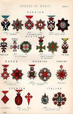 1880 PRINT ~ ORDERS OF MERIT ~ MEDALS ~ RUSSIAN AUSTRIA