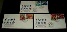 U.N. 1996, SPORT AND  ENVIRONMENT, SET/2 SINGLES ON FDCs, 3 OFFICES,NICE! LQQK!