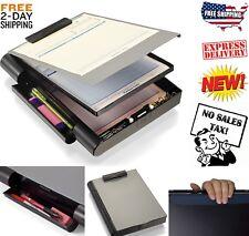 Locking Storage Clipboard Hard Black Solid Briefcase Case Paper Forms Holder