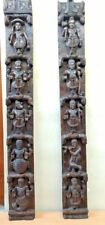 Hindu Dashavatara Wall Vertical Panel Pair Vintage God Vishnu Ten Avatar panel