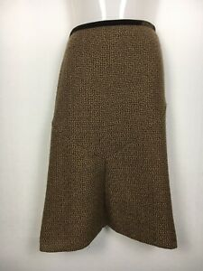 Sussan 16 skirt brown boucle velvet ribbon A line fit flare work corporate Lge ^