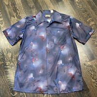 Vtg 60s 70s SEARS Sportswear Disco Shirt POLYESTER All Over Print Mod MENS LARGE