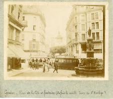 Suisse, Genève, Rue de la Cité et fontaine, ca.1900, vintage citrate print Vinta