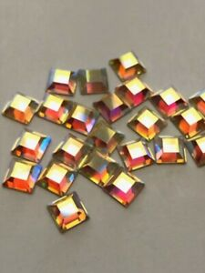 24 pcs SQUARE Crystal AB Swarovski Flatback Rhinestone 6 mm