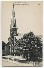 Ma ~ St Bernards Church Fitchburg Massachusetts c1940 Worcester County Postcard