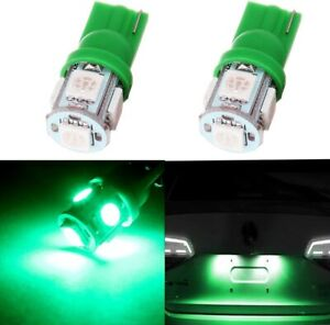 2X 5 LED GREEN 921 T10 194 168 2825 W5W DOME MAP CARGO LIGHT BULBS