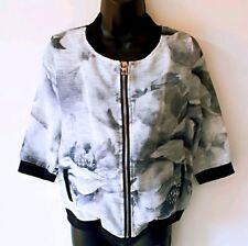 New Women Ladies 3/4 Sleeve Grey Floral Print Bomber Jacket Streetwear