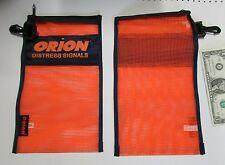 2 Orion Distress Signal Bags, Blaze Orange Mesh, Zippered, Snap Hook Emergency
