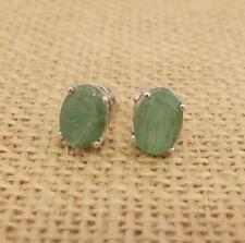 Natural Emerald 925 Sterling Silver Stud Earrings Jewellery 6 x 8mm