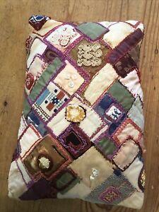 Vintage Handmade Small Rectangular Patchwork Cushion
