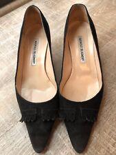 MANOLO BLAHNIK Womens Black Suede Point Toe Pump Heels 38 Fringe Detail