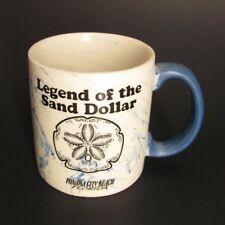 Legend of the Sand Dollar Coffee Mug Ceramic Ivory Blue Swirl Panama City Beach
