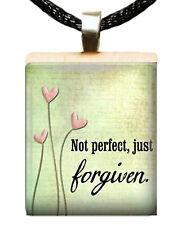 CHRISTIAN SCRABBLE TILE PENDANT CHARM NOT PERFECT JUST FORGIVEN FLOWERS #03