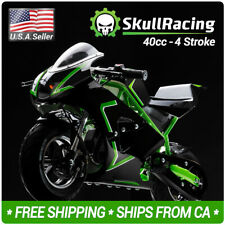 SkullRacing Gas Powered Mini Pocket Bike Motorcycle 40Rr (Green)