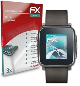 atFoliX 3x Screen Protector for Pebble Time Steel Protective Film clear&flexible